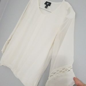 Bell sleeve blouse, off-white, size S, EUC